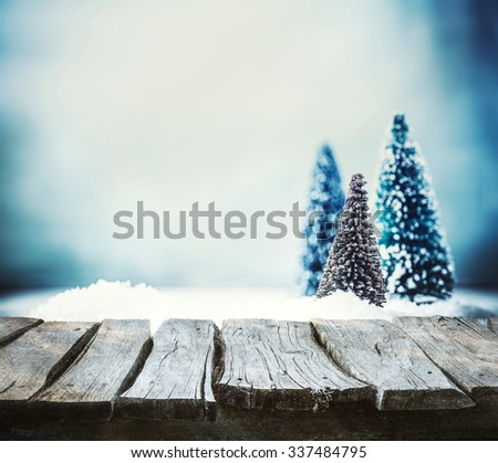 Christmas background. Xmas fir tree on snow. Empty winter display for your montage - stock photo
