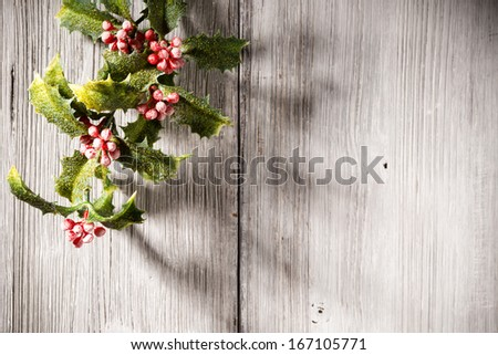 Christmas backgrounds. Christmas decor on the white wooden background. - stock photo