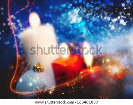 Christmas backgrounds with candles and garland for your design - stock photo