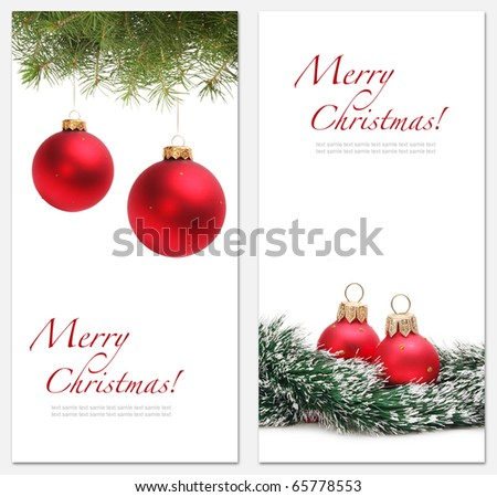 christmas backgrounds with red ball - stock photo