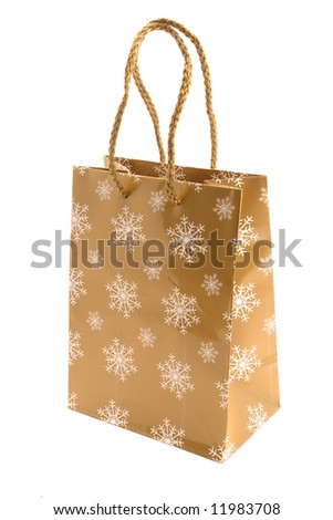 Christmas   bag  for purchases on a white background. - stock photo
