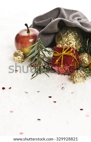 Christmas bag with decoration and artificial snow