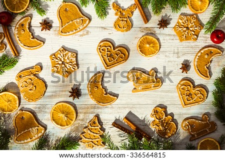 Christmas baking background with old white boards