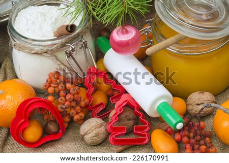 Christmas Baking flour delicious honey - stock photo