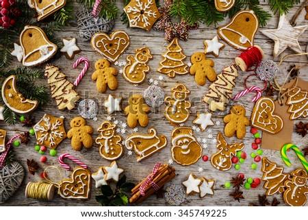 Christmas baking - homemade christmas cookies and christmas spices - stock photo