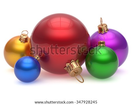 Christmas ball adornment decoration multicolored New Year's Eve colorful shiny wintertime hanging baubles group. Traditional ornament happy winter holidays Merry Xmas classic decor. 3d render isolated - stock photo