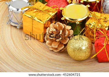 Christmas ball and decoration on wooden background
