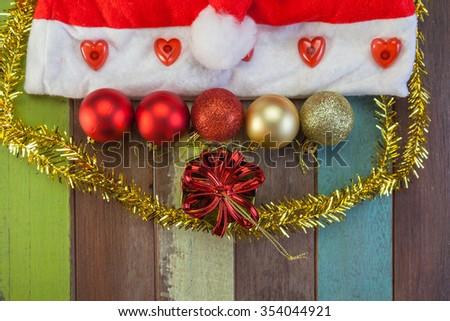 Christmas ball and gift decoration concept - stock photo