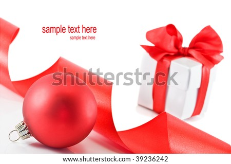 christmas ball and gift isolated