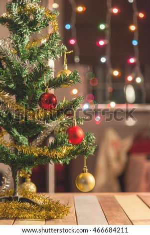 Christmas ball and pine tree with decoration isolated on white background