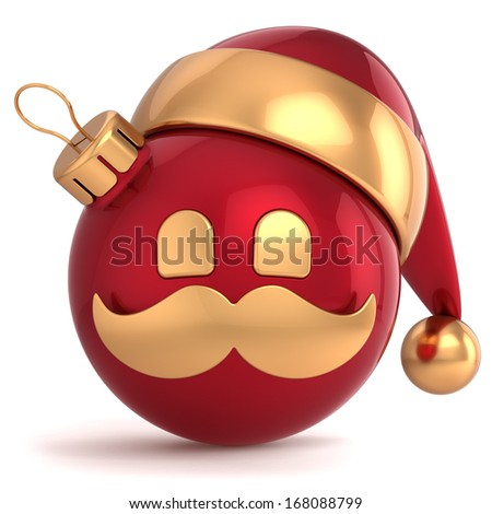 Christmas ball avatar Santa Claus hat ornament New Year bauble red gold decoration happy emoticon icon. Seasonal wintertime Merry Xmas mustache toy souvenir. 3d render isolated on white background - stock photo