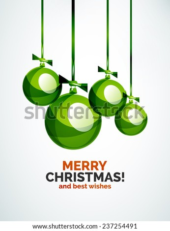 Christmas ball, bauble, New Year Concept, Greeting card or Invitation Template - stock photo