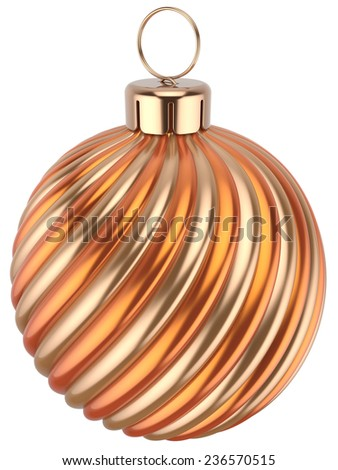 Christmas ball bauble New Years Eve decoration orange gold sphere icon. Beautiful shiny Merry Xmas winter symbol classic. 3d render isolated on white background - stock photo