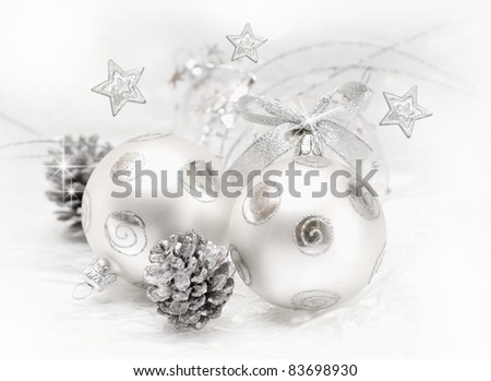 Christmas ball baubles with silver decoration, isolated - stock photo