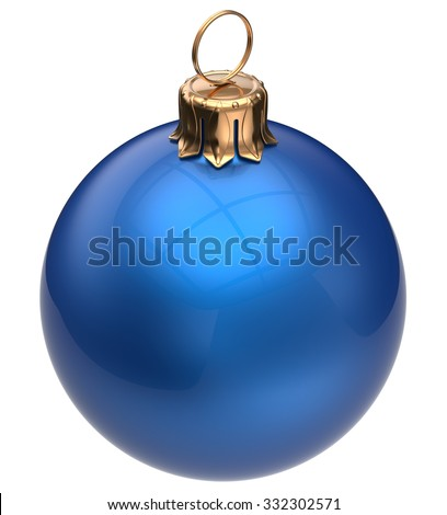 Christmas ball blue New Year's Eve bauble wintertime decoration glossy sphere hanging adornment classic. Traditional winter happy holidays ornament Merry Xmas symbol blank round. 3d render isolated - stock photo