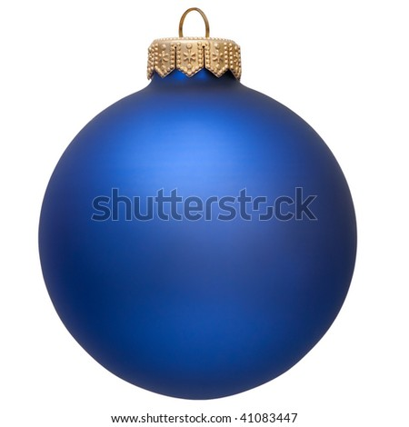 christmas ball (christmas ornament ). blue color. Isolated over white. - stock photo