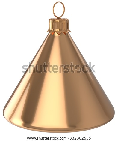 Christmas ball cone geometric New Year's Eve unusual bauble golden decoration hanging adornment. Traditional wintertime holidays home ornament Merry Xmas event symbol shiny blank. 3d render isolated - stock photo