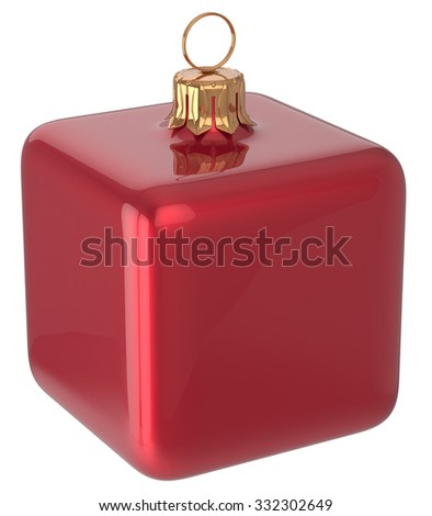 Christmas ball cube geometric New Year's Eve unusual bauble red decoration hanging adornment. Traditional wintertime holidays home square ornament Merry Xmas symbol shiny blank. 3d render isolated - stock photo