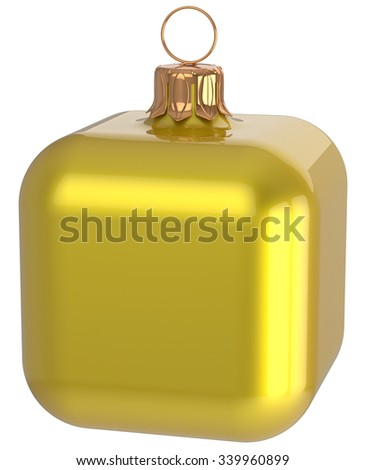 Christmas ball cube geometric unusual yellow decoration New Year's Eve bauble hanging adornment. Traditional wintertime holidays home square ornament Merry Xmas symbol shiny blank. 3d render isolated - stock photo