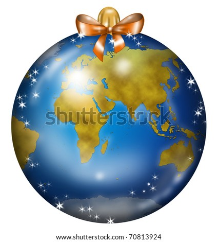 Christmas ball decorated like a globe: africa, asia and europe. - stock photo