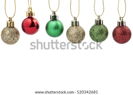 Christmas Ball Decoration. Holiday Decoration on White Background. space for text your