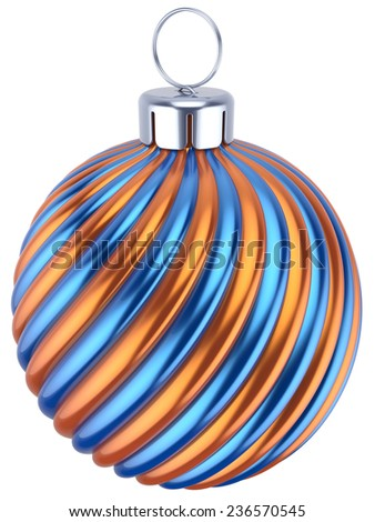 Christmas ball decoration New Year bauble blue golden sphere icon. Beautiful shiny Merry Xmas winter symbol classic traditional. 3d render isolated on white background - stock photo