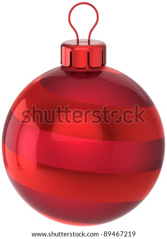 Christmas ball decoration New Years Eve bauble classic red. Merry Xmas greeting card design element. Traditional wintertime holidays icon concept. 3d render isolated on white background - stock photo