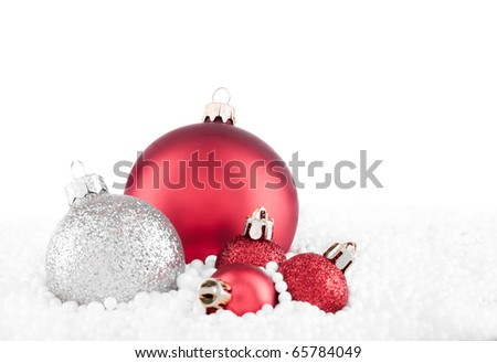 Christmas ball decorations isolated on white - stock photo