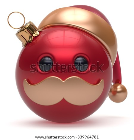 Christmas ball emoticon Happy New Year's Eve bauble Santa Claus hat cartoon mustache face decoration cute red. Merry Xmas cheerful funny person laughing character toy souvenir adornment. 3d render - stock photo