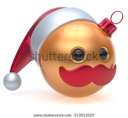 Christmas ball emoticon New Year's Eve bauble Santa Claus hat cartoon mustache joyful face adornment decoration cute golden. Happy Merry Xmas cheerful person laughing funny character avatar. 3d render