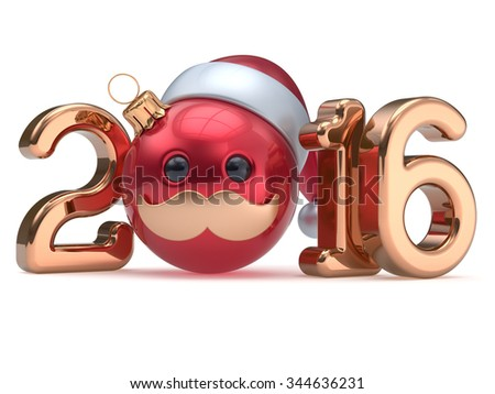 Christmas ball emoticon New Year's Eve 2016 date bauble Santa Claus hat cartoon mustache face decoration red gold. Happy Merry Xmas cheerful funny person character toy souvenir adornment. 3d render - stock photo