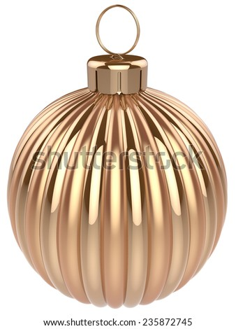 Christmas ball gold decoration glossy golden. Happy New Year bauble traditional. Merry Xmas greeting card design element. 3d render isolated on white background - stock photo