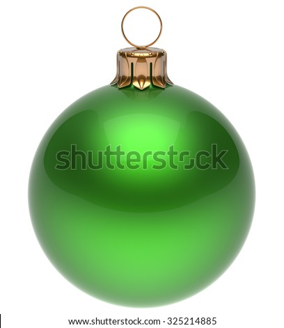 Christmas ball green New Year's Eve bauble wintertime decoration glossy sphere hanging adornment classic. Traditional winter ornament happy holidays Merry Xmas symbol blank round. 3d render isolated - stock photo