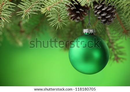 Christmas ball hanging on Christmas tree. - stock photo