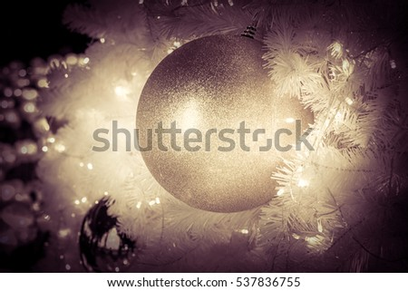 Christmas ball hanging on Christmas tree.