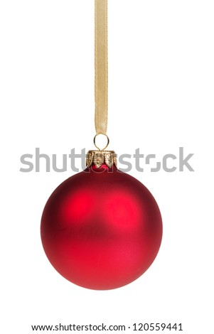 christmas ball hanging on ribbon isolated on white - stock photo