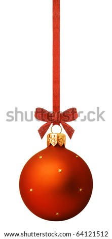 Christmas ball hanging with ribbon on white background - stock photo