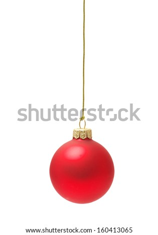 Christmas ball hanging with ribbons on white background