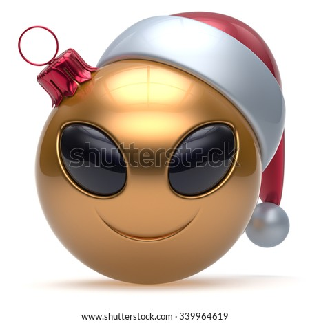 Christmas ball Happy New Year's Eve bauble smiley alien face cartoon cute emoticon decoration gold. Merry Xmas cheerful funny smile Santa hat person character toy laughing eyes joy adornment 3d render - stock photo