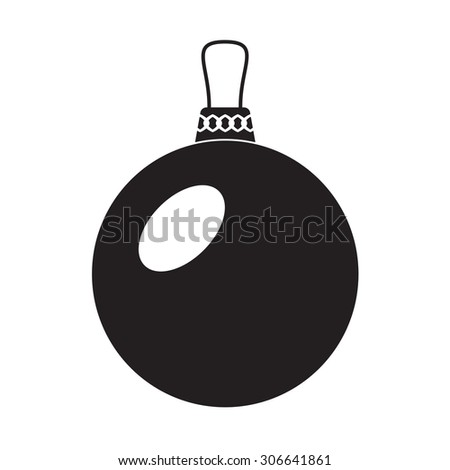 Christmas ball icon or sign on white background. Happy New Year and merry xmas design element. - stock photo