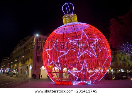 Christmas ball in Nice, France - stock photo