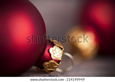Christmas Ball Macro as Christmas or Winter Background with Copy Space - stock photo