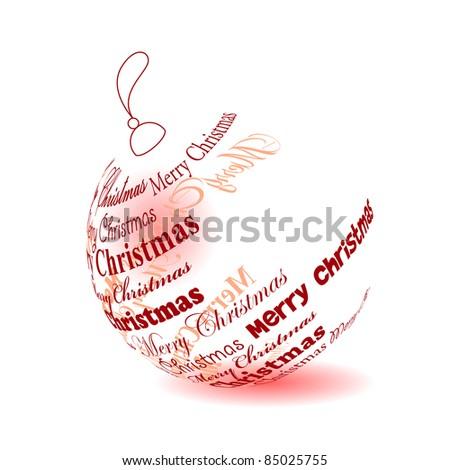 "Christmas ball made of ""Merry christmas"" phrase isolated. Raster version. - stock photo"