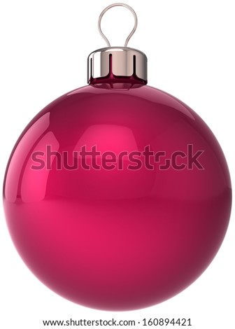 Christmas ball New Year bauble decoration red sphere icon. Beautiful shiny Merry Xmas winter symbol classic blank. Detailed 3d render. Isolated on white background - stock photo
