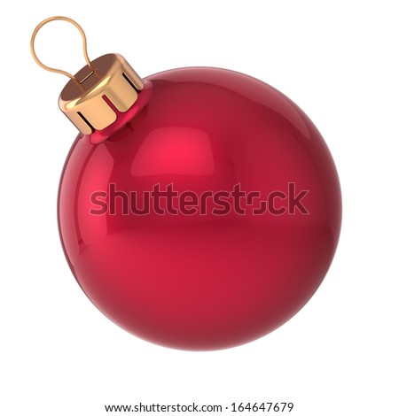 Christmas ball New Year bauble red decoration sphere icon traditional. Shiny Merry Xmas wintertime symbol classic blank. Detailed 3d render. Isolated on white background - stock photo