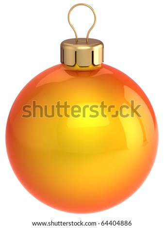Christmas ball New Year Eve bauble orange gold golden decoration. Merry Xmas greeting card design element blank. 3d render isolated on white background - stock photo