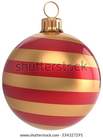 Christmas ball New Year's Eve bauble adornment decoration striped golden red hanging sphere modern. Traditional happy wintertime holidays ornament Merry Xmas symbol blank. 3d render isolated - stock photo
