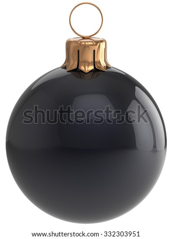 Christmas ball New Year's Eve bauble black wintertime decoration sphere hanging adornment classic. Traditional winter holidays home ornament Merry Xmas event symbol shiny blank. 3d render isolated - stock photo