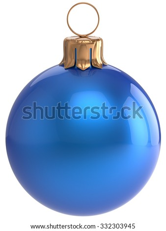 Christmas ball New Year's Eve bauble blue wintertime decoration sphere hanging adornment classic. Traditional winter holidays home ornament Merry Xmas event symbol shiny blank. 3d render isolated - stock photo