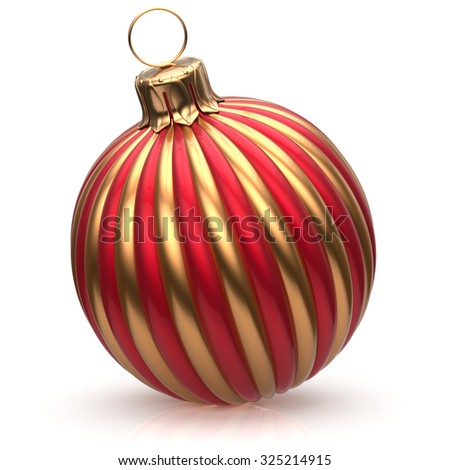 Christmas ball New Year's Eve bauble decoration red golden wintertime hanging adornment classic. Traditional happy winter holidays ornament Merry Xmas event symbol glossy blank. 3d render isolated - stock photo
